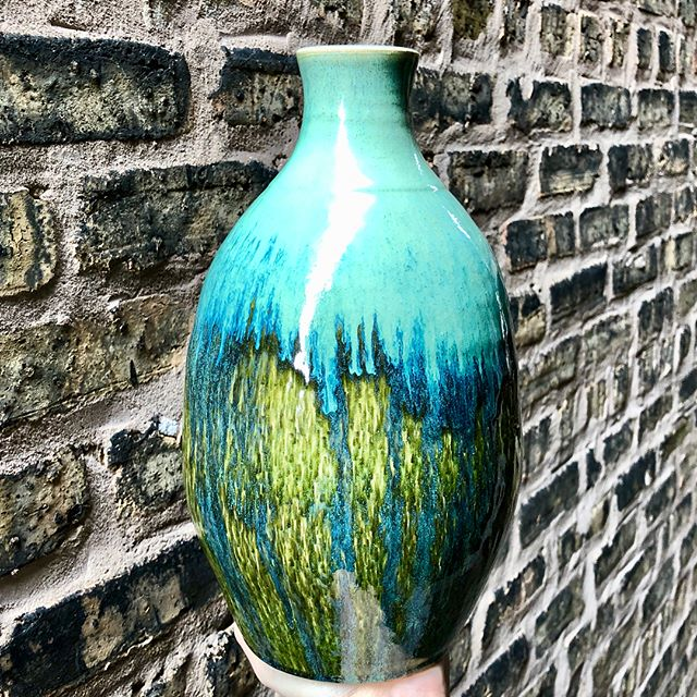 Aqua and Green Chattered Ceramic Vase